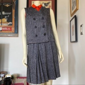 Vintage 80s tweed wool vest skirt suit Sailor Moon